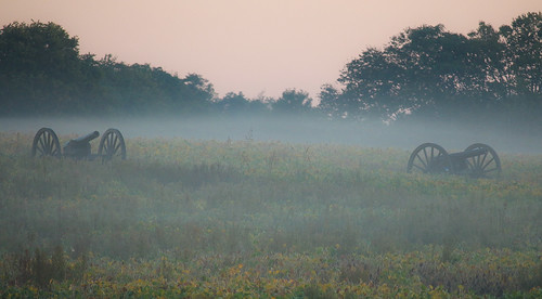 Misty Morning: Cannon overlooking the Cornfield, Antietam Battlefield