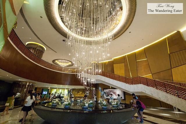 Inside the lobby of Grand Lisboa Hotel