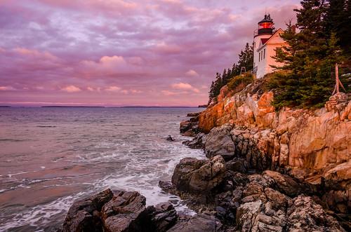 travel lighthouse sunrise unitedstates maine newengland rocky headlight acadia eastcoast acadianationalpark