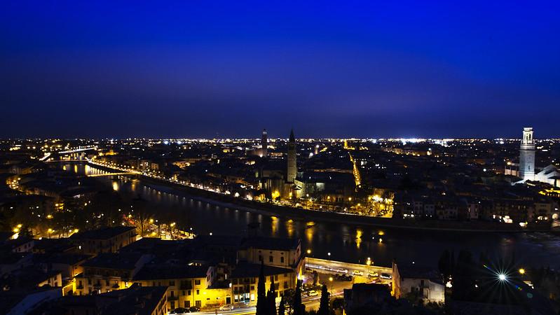 Verona city at tue blue hour