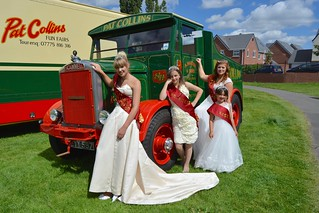 Bloxwich Carnival Royalty admire Pat Collins' historic showman's tractor. L to R: 2015 Queen Charlotte Locke, 2016 Princess Libby Robbins, 2016 Rosebud Tayla Parker (front), 2016 Queen Amber Rolls