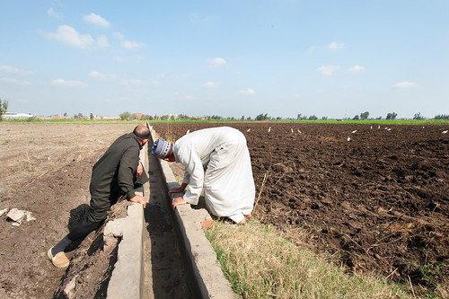 Two men look at an improved small irrigation chanal (marrwa)