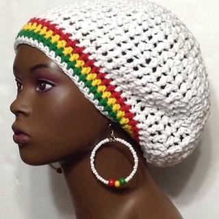 e4c35f365bbf3 White Cotton Rasta Trim Crochet Beret Tam Hat with Beaded … | Flickr