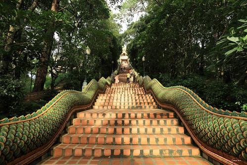 sunset 2 cloud sunlight reflection stairs canon thailand temple rainbow asia mark buddha south royal buddhism east mai step jungle thai 5d asie 16 wat chiang 35 chedi doi suthep phrathat