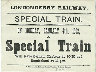Londonderry Railway Notice of Special Train 1892 | by ian.dinmore