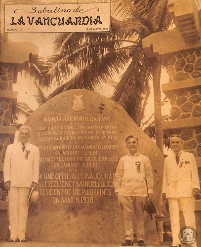 High Commissioner Paul V. McNutt, President Manuel L. Quezon and Speaker Gil Montilla at the historical stone marker   by Presidential Museum and Library