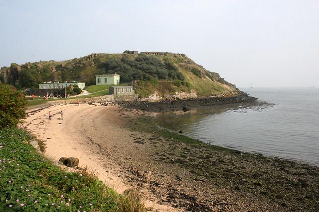 The beach and barracks, Inchcolm Island