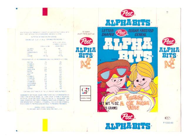 Vintage 1983 Post Alpha-Bits Single Serve Cereal Box