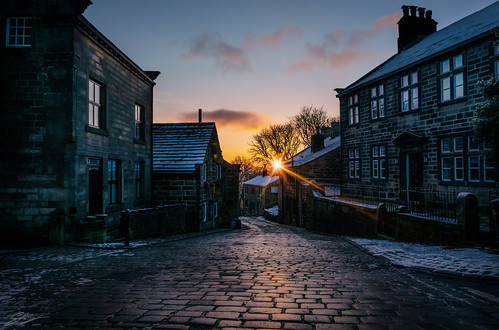 christmas uk bridge england english sunrise dawn town december britain yorkshire dramatic calm moors hebden dales heptonstall towngate calderdale dalesman