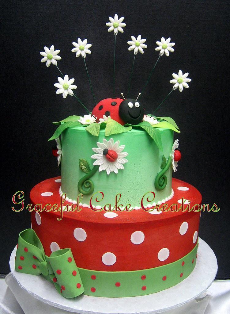 Fantastic Beautiful Ladybug And Daisy Birthday Cake Grace Tari Flickr Funny Birthday Cards Online Alyptdamsfinfo