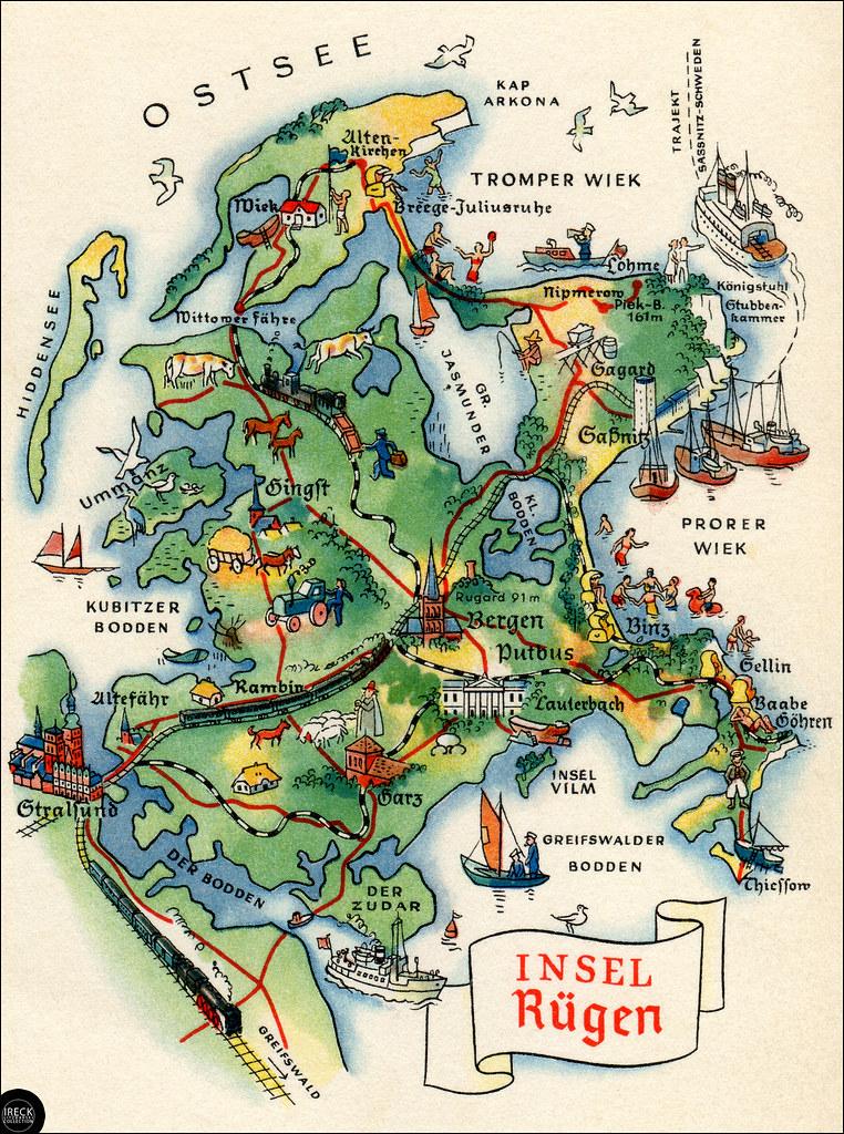 Rügen Karte.Insel Rügen Vorpommern Landkarte Als Ansichtskarte 196 Flickr