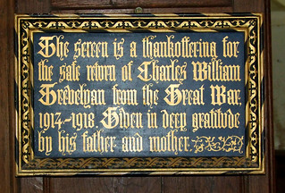 the safe return of Charles William Trevelyan from the Great War