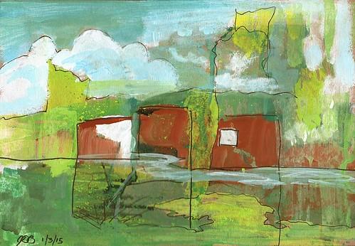 painting landscape gouache