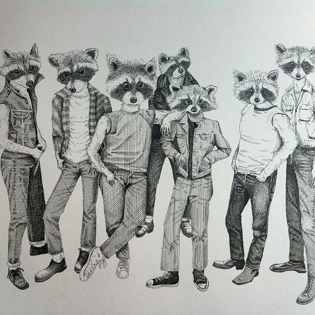 bad ass racoons. pen drawing.