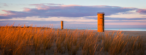 de justinnixonphotography beach capehenlopen capehenlopenstatepark delawre rehoboth rehobothbeach tower towers wwii lookouttowers sunset dune grass pano panorama panoramic geotagged interestingness stitched sunlight