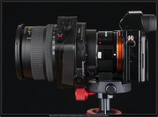 Micro Nikkor PC 85mm/2.8 with Metabones adapter on UniqBall tripod head from Novoflex