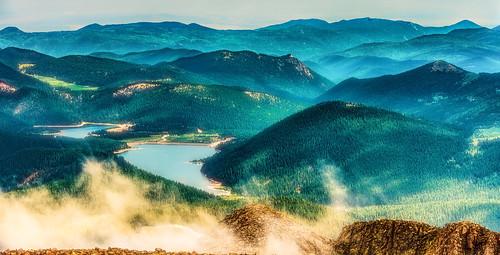 cloud mountain lake water weather rock landscape outside outdoors serene pikespeak masonreservoir