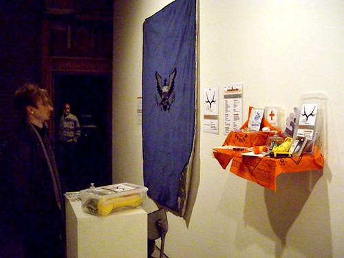 "Sarah Filley, ""National Emergency Blanket"" and ""Emergency Kit"" (mixed media)"