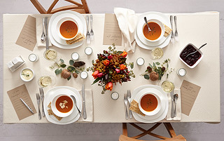 Millennial minimalist table setting for Thanskgiving with floral centerpiece | by ProFlowers.com
