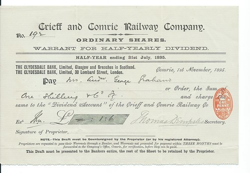 Crieff and Comrie Railway Dividend Warrant 1895 | by ian.dinmore