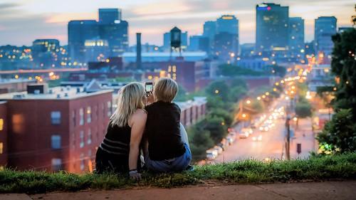 city two woman skyline night photography lights virginia nikon cityscape bokeh richmond va iphone d810