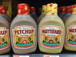 Condiments for Dogs, Petchup and MUTTstard, at Walmart for 6 bucks a bottle! 12/2014 by Mike Mozart of the TheToyChannel and JeepersMedia on YouTube! #Petchup #Muttstard #Condiments #Dogs | by JeepersMedia