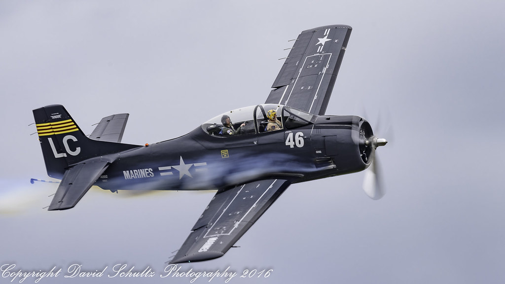 Roger Collins in his 1957 North American T-28C Trojan N28LC