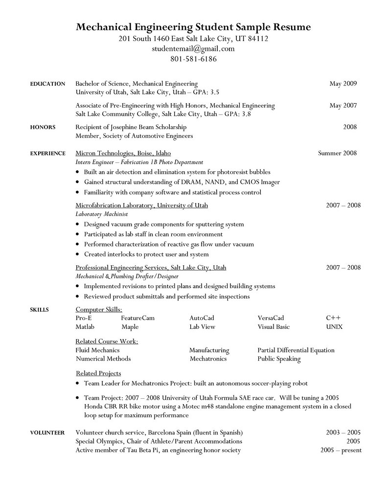 College Student Resume Objective Sample College Student Re Flickr