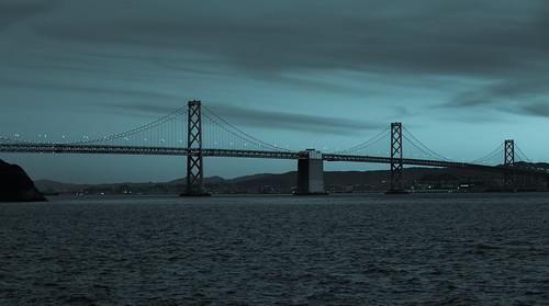 Bay Bridge at Sunset viewed from Treasure Island San Francisco CA