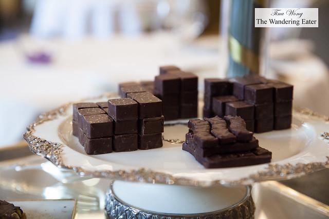 Chocolate bonbons on the dessert cart