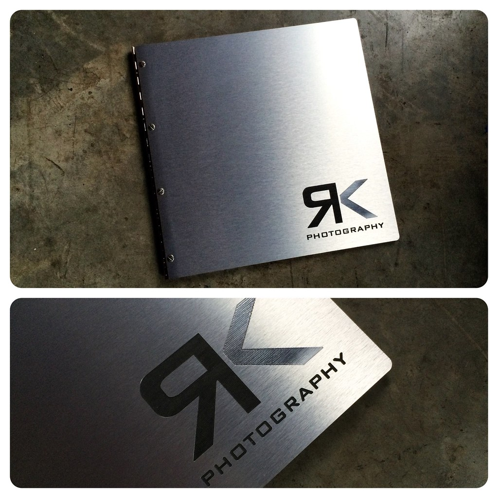 Custom photography portfolio book in brushed silver alumin