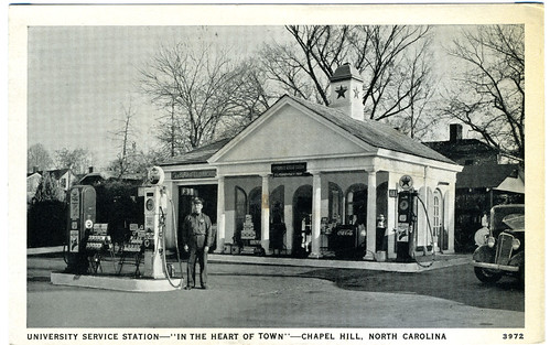 "University Service Station -- ""In the Heart of Town"" -- Chapel Hill, North Carolina 