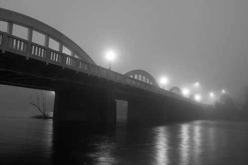 fog kitchener ontario canada ca blackandwhite night grand river bridge lights crossing water