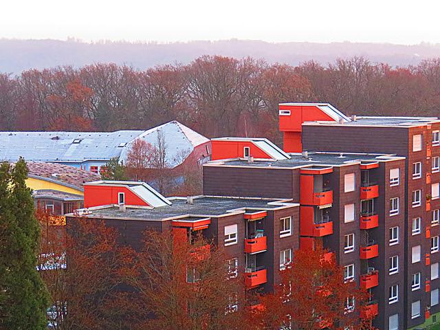 Waldorfschule schnee-vereistes Dach