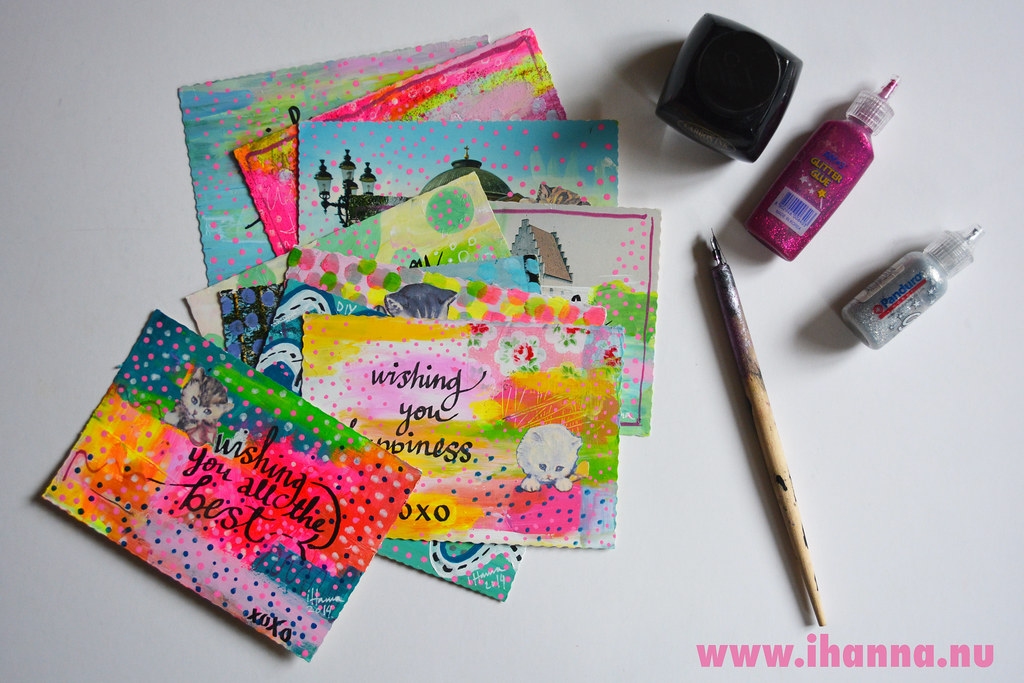 Handmade Postcards by @ihanna for the DIY Postcard Swap #diyPostcardSwap