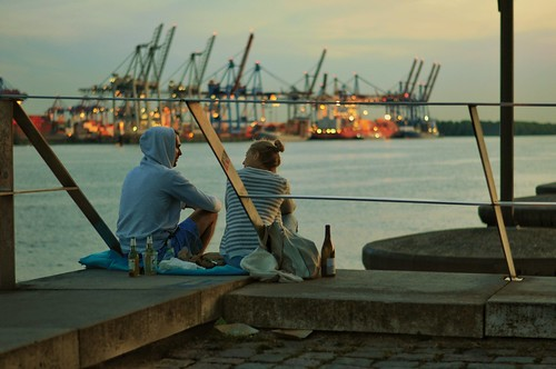 ship harbor harbour port hafen hamburg germany nikon crane cranes containership 50mm f18 hansestadt seaport industriell industrial marine naval elbe river outdoor dock dock10 music fernweh candid streetphotography dof depthoffield d5000 nikond5000 fortune williamfitzsimmons bokeh dusk date chill relax couple love liebe together drinks sundown sunrise evening thisishh