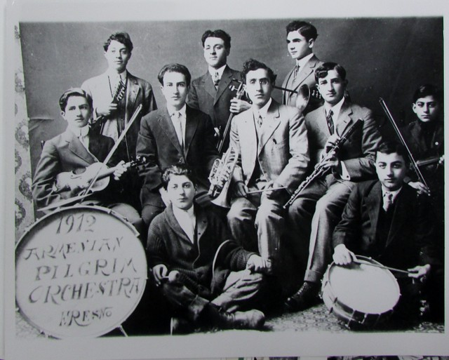 Portrait of  Pilgrim Armenian Congregational Church Orchestra, Fresno, California, c. 1912