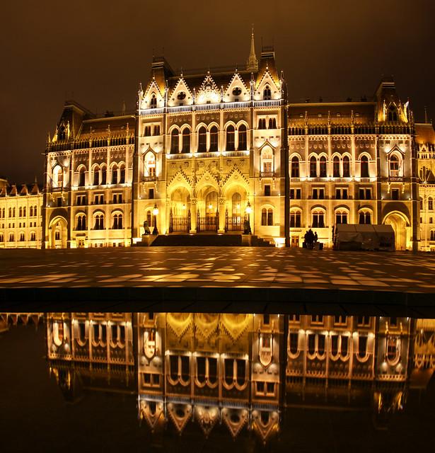 Budapest - hungarian Parliament night panorama 4