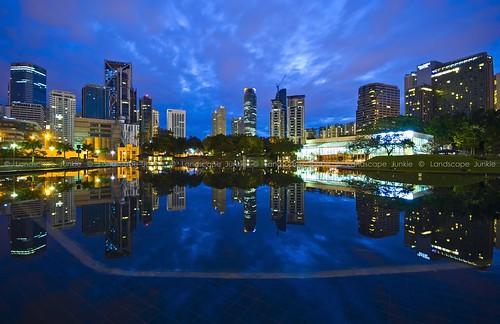 urban reflections landscape cityscape malaysia bluehour kualalumpur klcc sigma1020mm leefilters nikond90 landscapejunkie klccsymphonylake muhamadfaisalibrahim