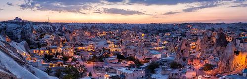 sunset panorama clouds turkey lights dusk pano panoramic cappadocia göreme goreme kapadokya uchisar fairychimney uçhisar