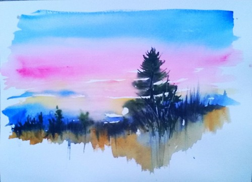 sunset art watercolor painting transparent loose whitepine pleinair isabellacounty