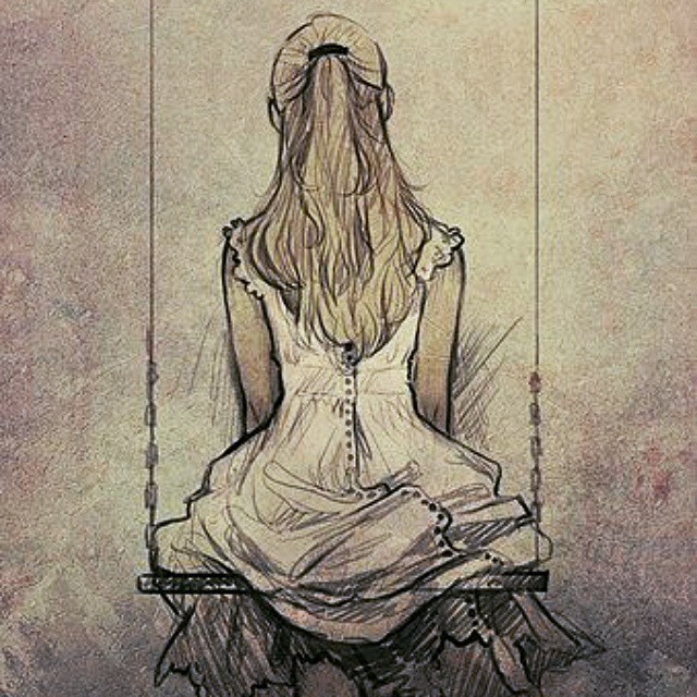 Girl Sitting Alone Images Drawing Get Images Four