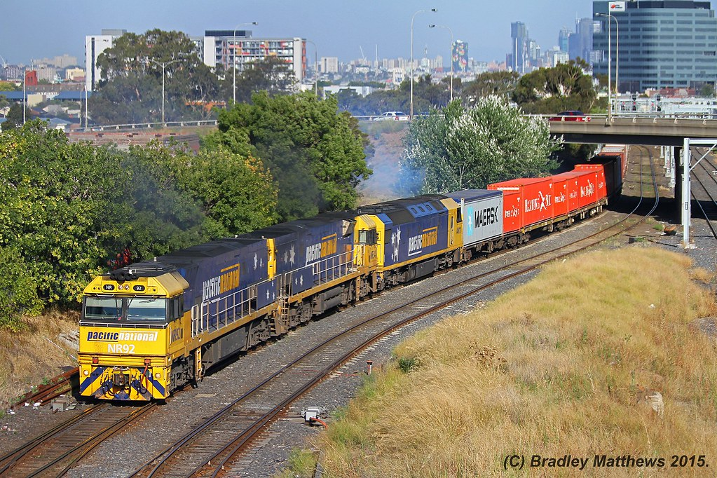 NR92-NR34-AN11 with 3MA5 PN freight to Adelaide at West Footscray (6/1/2015) by Bradley Matthews