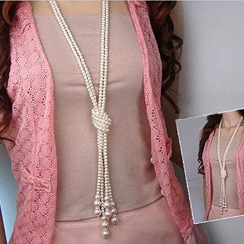 Voberry Fashion Hot Sale 1pcs 124cm (51 inch) Girls' Long Knotted Pearl Necklace Women Fashion Sweater Chain Clothing Accessories Jewelry (B)