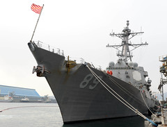 In this file photo, USS Mustin (DDG 89) sits along the pier in Donghae, Republic of Korea, during a port visit earlier this month. (Photo courtesy of ROK Navy)