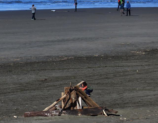young child at Ocean Beach, San Francisco; January 1, 2015