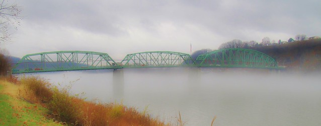 Fog on the Allegheny River under Kittanning Bridge, Armstrong County PA