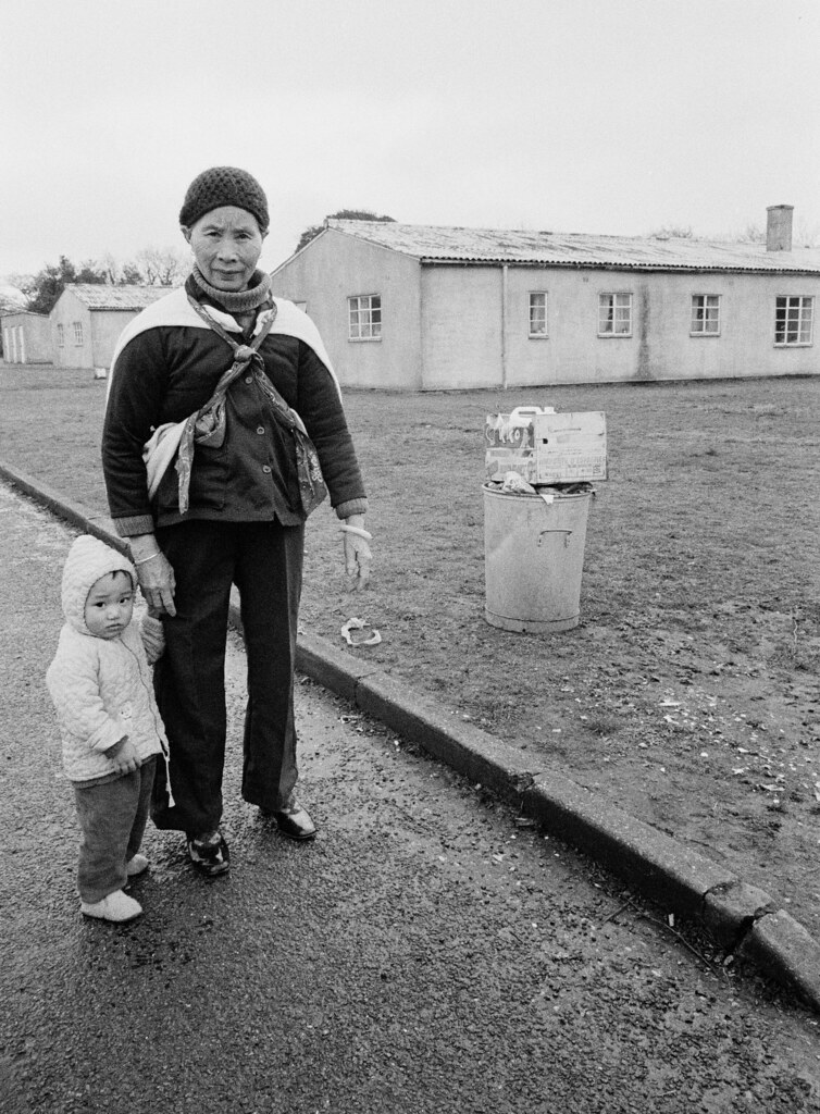 Adult and Child, Sopley Refugee Camp, Hampshire, UK, March 1980