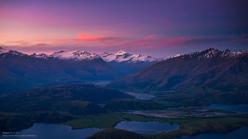 travel sunset newzealand landscape dusk hiking southisland otago wanaka lakewanaka snowmountain royspeak glendhubay