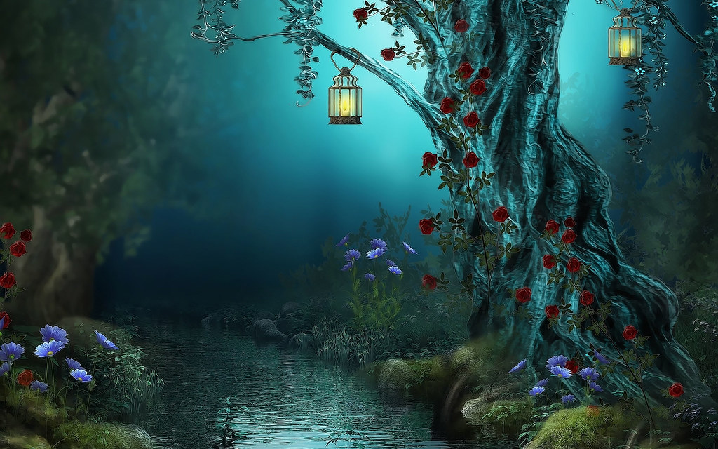Fantasy-Flowers-Forest-Lamps-Nature-Night-Red-Roses-River ...